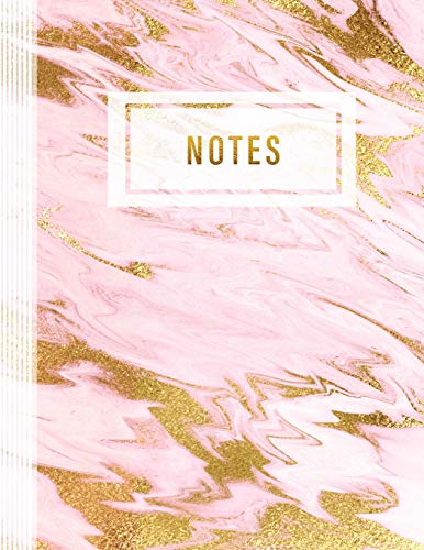 Notes: Graph Paper Composition Notebook 8.5x11 For Girls Women - Large Blank 5x5 Quad Grid Paper Book Journal - Stylish Blush Pink Pastel Rose Gold Marble Art Pattern