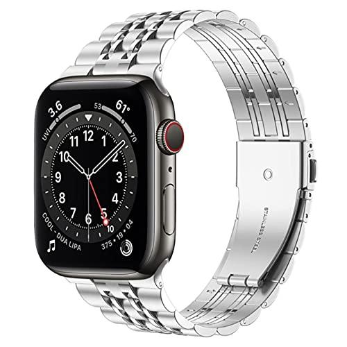 Para Apple Watch 6 band se Series 5 4 44mm 40mm brazalete Adaptadores mejorados Correa de acero inoxidable para iwatch 3 42mm 38mm bands-silver, series 6 se 44mm