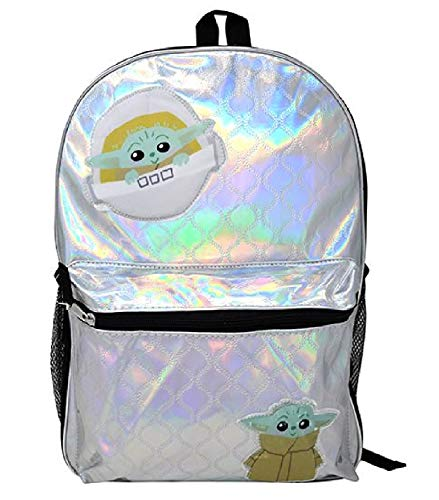 Star Wars The Child  Baby Yoda Shiny Quilted 16  Backpack Standard