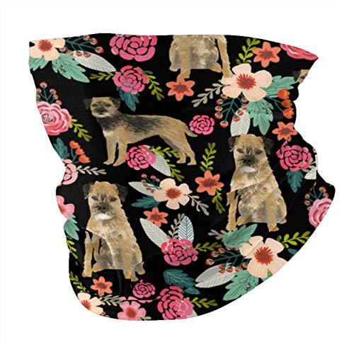 Xinflag@10 Border Florals - Máscara negra para perro, máscara y escudo facial protectora para hombres y mujeres, variedad de moda, pasamontañas para polvo, al aire libre, deportes