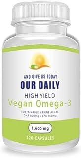 Our Daily Vites Plant Based Omega-3 Algal 120 Ct - Marine Vegan Algae Source of DHA & EPA for Eye Health , Heart Health an...