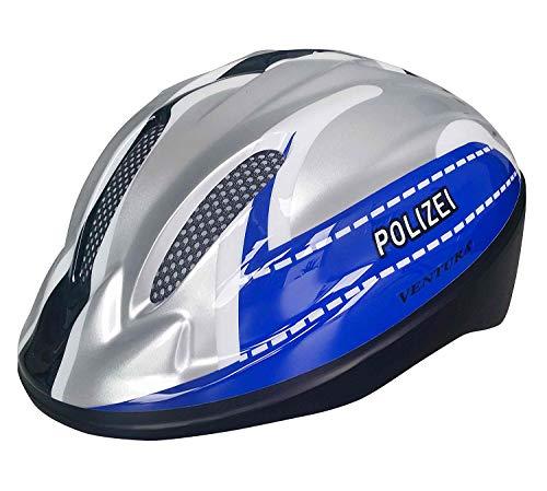 Ventura Kinder Fahrradhelm Helm Polizei Silber blau Gr. S 52-56cm Kopfumfang