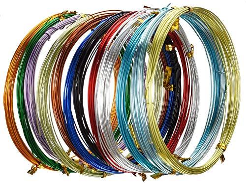Alambres de Metal 12 Rollos Alambre de Aluminio de color 1 mm de Diámetro 5 Metros de Largo para Fabricación de Bisutería y Manualidades Varia