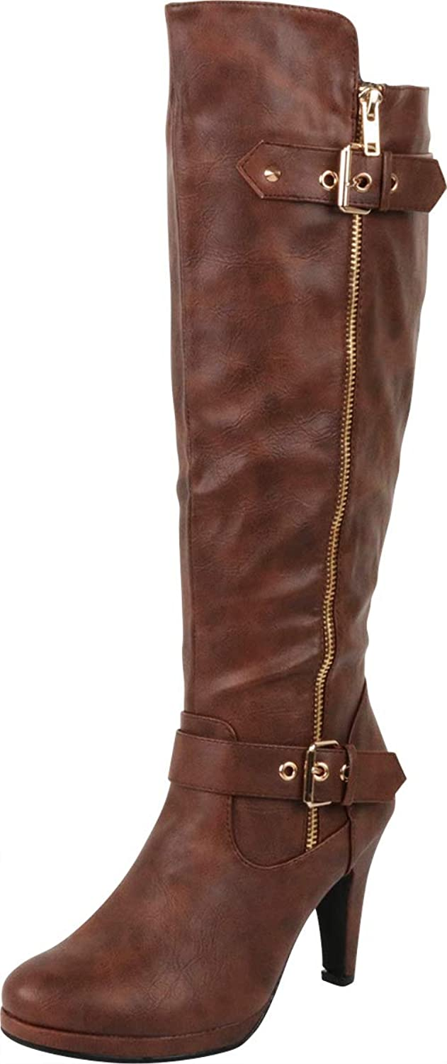 Cambridge Select Woherrar Strappy Double Buckle Chunky Platform hög hög hög klack Knee High Boot  spara upp till 50%