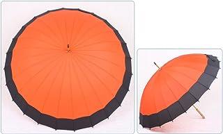 24 Bone Wooden Handle Super Large Umbrella Umbrella Men and Women Common Cover Sun Umbrella Super Sun Umbrella Anti-UV Sun Umbrella HNBY (Color : Orange)