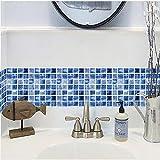 Set de 12 Pcs Stickers Carrelage 3D Vintage Bleu Adhésif Mural Cuisine 20x20 cm,...