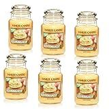 Yankee Candle Vanilla Cupcake, großes Glas 650ml Kerze, elfenbeinfarben, 6er-Set
