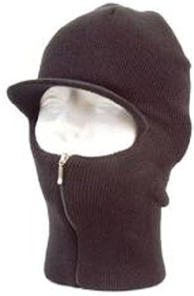 XO Easy Zip Down Knit SKI Visor Face Mask Zipper up Balaclava Brim Hunting Hat Cap