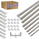 JANDEI - 8 * 1 metro Perfil aluminio tira led con tapa superficie 14 x 5 mm