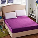 N / A Super King Sheet,Flannel Solid Fitted Sheets, King Hotel Mattress Cover, Single Double Bed Covers-Purple_180cm200cm+25cm