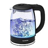 Glas Wasserkocher, HOMMINI 2 Liter Wasserkessel mit LED-Beleuchtung, Elektrischer Wasserkocher,...