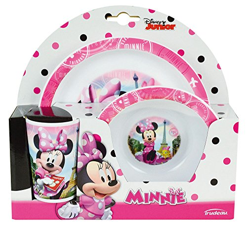 FUN HOUSE 005471 Disney Minnie Ensemble Repas Contenant 1 Assiette, 1 Bol et 1 Verre pour Enfant, Polypropylène, Rose, 26,5 x 8,5 x 24,5 cm