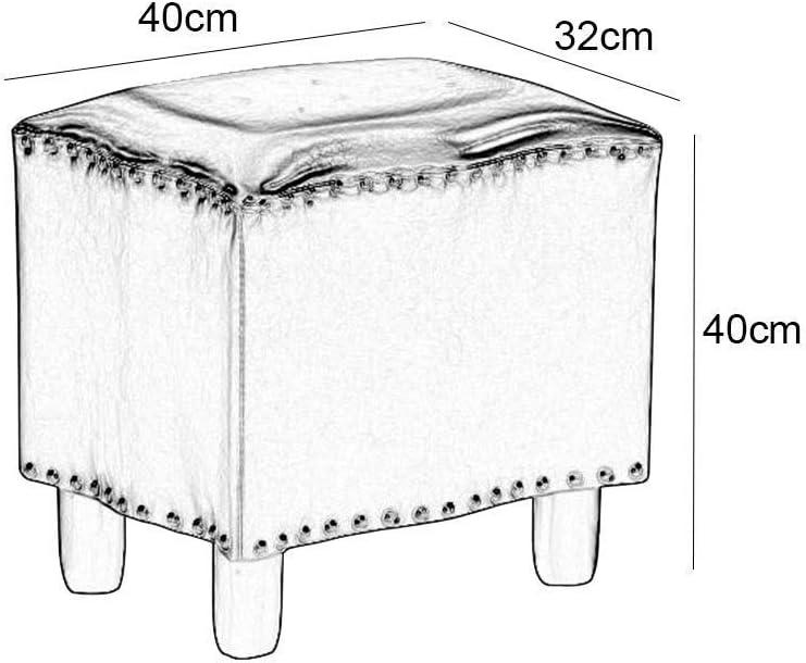 YUMUO Pouf en Cuir rembourré Tabouret Tabouret Petit Banc Tabouret Canapé Salon Table Basse (Couleur: Jaune, Taille: 40 * 40 * 32cm) 4