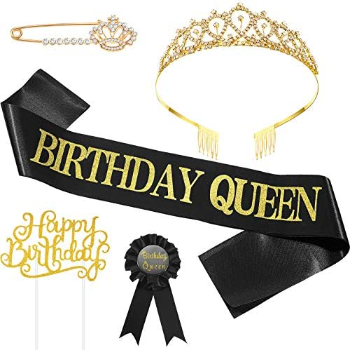 5 Pieces Birthday Accessories Include Birthday Queen Sash Tiara Tinplate Badge Pin Brooch Clip product image