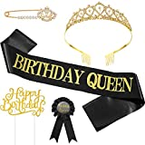 5 Pieces Birthday Accessories, Include Birthday Queen Sash, Tiara, Tinplate Badge Pin, Brooch Clip Pin and Happy Birthday Cupcake Topper for Women Birthday Party Favors