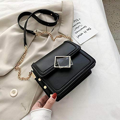 WKH  Summer Messenger Bag Fashion Small Square Bag Ladies Shoulder Bag Contrast Color Female Bag Chain Mobile,Black
