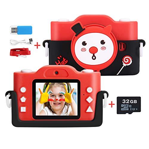Kinderkamera, 1080P HD 12MP / 32GB SD-Karte Digitalkamera für Kinder USB wiederaufladbare Selfie-Kamera, 3 - 12 Jahre alt Mädchen Geburtstag Kinder Spielzeug