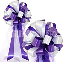 Purple and White Pull Bows with Tulle Tails - 8