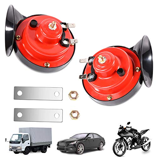 2PCS 300DB Loud Train Horn for Trucks,Electric Air Auto Snail Horns Waterproof High and Low Tone Single Horns Kit for Car Motorcycle Trucks Bikes Boats Any 12V Vehicles (300DB)