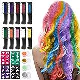 Haarkreide für Mädchen, Nivlan 10 Stück Haarfarbe Kamm, Temporär Haarfarbe Kreide Kamm für...