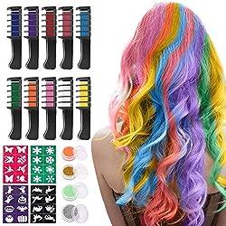Haarkreide für Mädchen, Nivlan 10 Stück Haarfarbe Kamm, Temporär Haarfarbe Kreide Kamm für Kinder Haarfärbemittel, Party und Cosplay, mit 4 Glitzertuben & 32 Schablonen