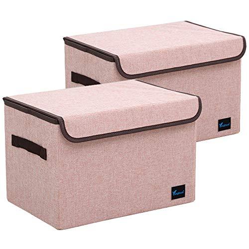 TruReey Caja de almacenamiento con tapa, paquete de 2 unidades de tela...
