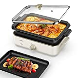 CalmDo Electric Foldaway Skillet Grill Combo, Indoor BBQ Grill, Stew and Hotpot with Nonstick Pan, Precise Temperature Control and Tempered Glass Vented Lid