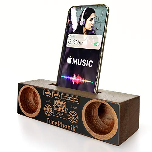 TunePhonik Sapele Wood Smartphone Display Stand w/Stereo Amplifier