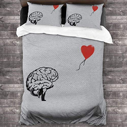 Brainsky Banksy Balloon Girl Brain 3 Pieces Bedding Set Cover Decorative with 2 Pillow Shams