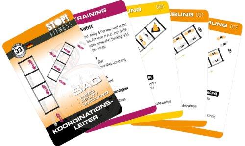 STOP! Fitness | Koordinationsleiter (Speed Ladder) | Trainingskarten Übungskarten, deutsche Version, Kartengröße 66 x 100 mm mit Kunststoffbox - SAQ Serie