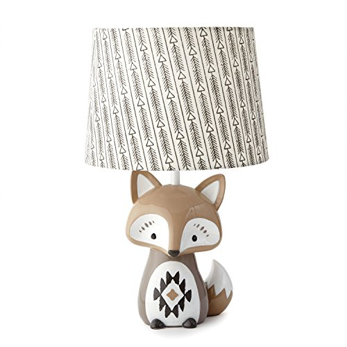 Levtex Baby - Bailey Table Lamp - Fox Lamp - Nursery Lamp - Base and Shade - Charcoal, Taupe, White - Nursery Accessories - Measurements: 22 in. high and 6 in. Diameter
