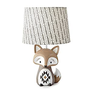 Levtex Baby – Bailey Table Lamp – Fox Lamp – Nursery Lamp – Base and Shade – Charcoal, Taupe, White – Nursery Accessories – Measurements: 22 in. high and 6 in. Diameter