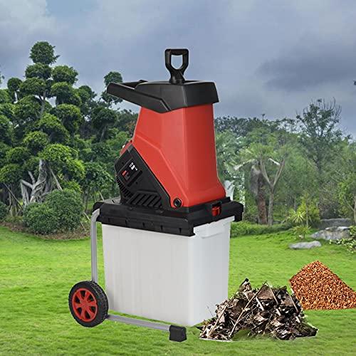 Trituradoras eléctricas de ramas con caja colectora de 45 l, trituradora de alta potencia de 2500 W, trituradora trituradora de madera, trituradoras portátiles de hojas ligeras,Chipper+40M Power Line