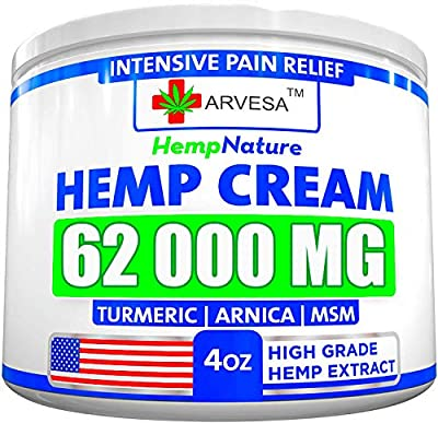 Hemp Pain Relief Cream - 62 000 MG - Made in USA - 4OZ - Relieves Muscle, Joint Pain - Lower Back Pain - Inflammation - Hemp Oil Extract with MSM - EMU Oil - Arnica - Turmeric by Arvesa