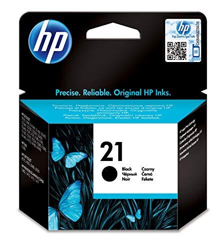 HP 21 C9351AE, Negro, Cartucho Original de Tinta, compatible con impresoras de inyección de HP Deskjet D1530, D1560, D2360, D2460, F2290, F335, F2180, F380, F390, F4180; Officejet 4315, 4335