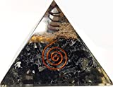 Auramore Black Tourmaline Crystal Orgone Pyramid Kit/Includes 4 Crystal Quartz Energy Points/EMF Protection Meditation Yoga Energy Generator