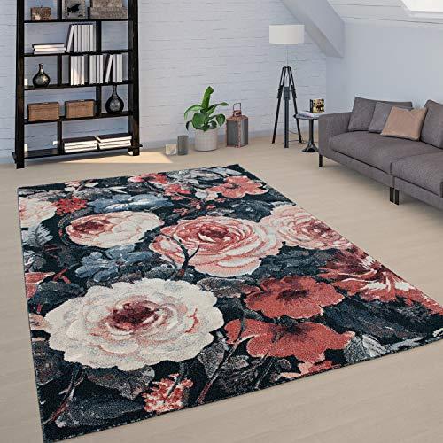 Paco Home Teppich Wohnzimmer Florale Boho Muster Vintage Design Kurzflor Versch. Farben, Grösse:80x150 cm, Farbe:Mehrfarbig