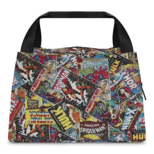 Superhero Comic Book Insulated Lunch Bag Durable Tote Cooler thermal Bag Portable Lunch Container Ladies Woman Man School Work Picnic Office kitchen