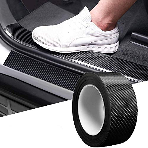 Greneric Car Door Sill Protector Bumper Protector Carbon Fiber Car Wrap Film 5D Gloss Black Vinyl Automotive Wrap Film Self-Adhesive Anti-Collision Film Fits for Most Car (1.2in16.4ft)