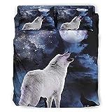Wandlovers Juego de ropa de cama de 4 piezas, diseño de fantasía, lobo, luna, estrellas, cielo, impresión ligera, funda de edredón, funda de almohada, decoración blanca, 203 x 230 cm