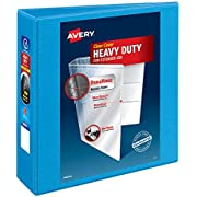 "Avery Heavy-Duty View 3 Ring Binder, 3"" One Touch Slant Rings, Holds 8.5"" x 11"" Paper, 1 Light Blue Binder (05601)"