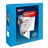 """Avery Heavy-Duty View 3 Ring Binder, 3"""" One Touch Slant Rings, Holds 8.5"""" x 11"""" Paper, 1 Light Blue Binder (05601)"""
