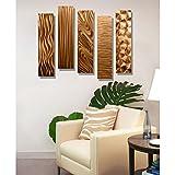 Statements2000 Copper Metal Wall Art Decor, Set of Five 24' x 6' Wall Art Sculptures, Contemporary Décor by Jon Allen Metal Art