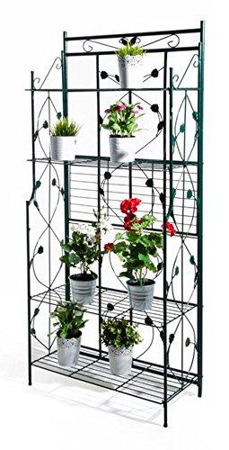 VERDELOOK Scaffale in Metallo Pieghevole con 5 scaffali. per Piante, arredo Giardino, fioriera o casa