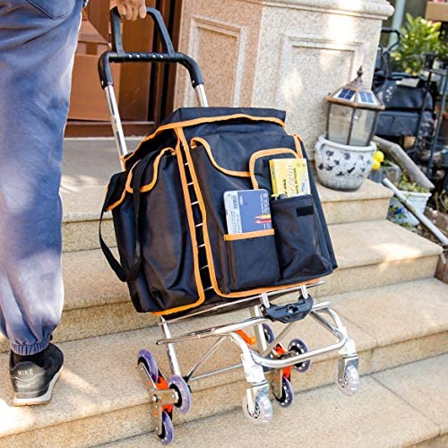 Hereinway Foldable Rolling Cart for Teachers Rolling Tool Bag Rolling Cart Organizer with Stair product image