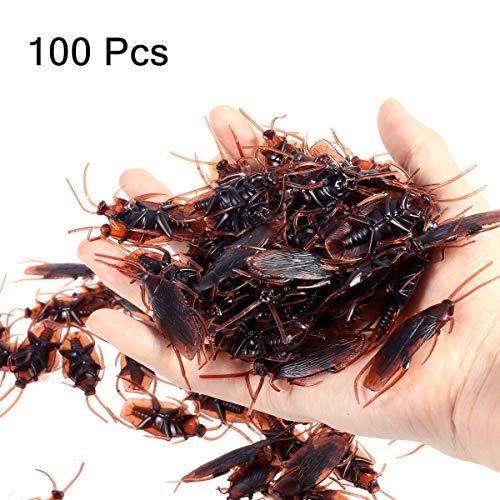 Amosfun 100 unids Broma Falsa cucaracha Novedad cucarachas Insectos se Ven Insectos de Miedo realistas cucarachas realistas para Halloween Party Supplies