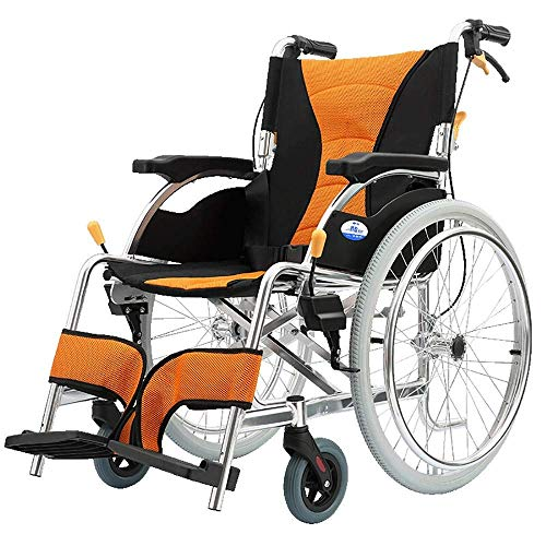 WZB - Wheelchair Orange Rollstuhl Reisestuhl Dicke Aluminiumlegierung Ältere Behinderte Einrad Rollstuhl Komfortables Licht Transport Falten Tragbare Gehhilfen