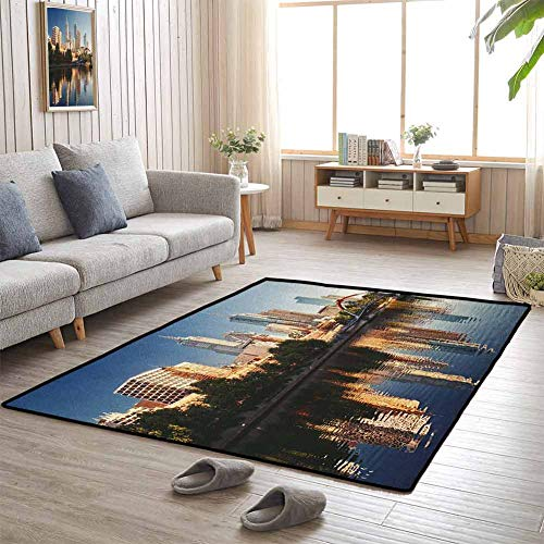Home Decor Carpet, Rubber Non Slip Fashions Natural Style for Bedroom Floor, City | Idyllic View of Yarra River Melbourne Australia Architecture Tourism - 3'x5' Dark Blue Ivory Dark Green