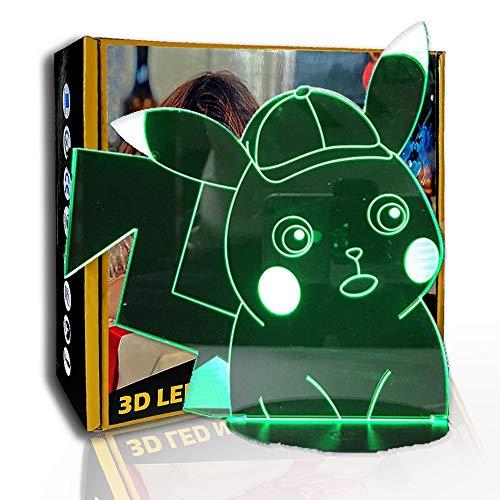 JINYI 3D Nachtlicht Pokemon Pikachu, LED-Illusionslampe, Kinderzimmerlampe, G - Handy-Kontrollbasis, Kindergeschenk, Bunter Farbverlauf, LED-Beleuchtung, Kinderlampe