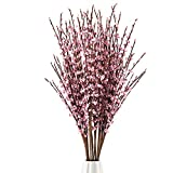 10Pcs 75CM Long Artificial Flower Winter Jasmine Folk Pip Berry Plant Dry Branches for Wedding Home Office Party Hotel Table Vase Christmas Decor - Pink